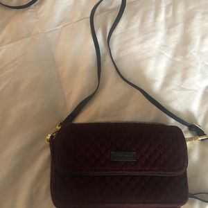 Vera Bradley burgundy velvet wallet crossbody.
